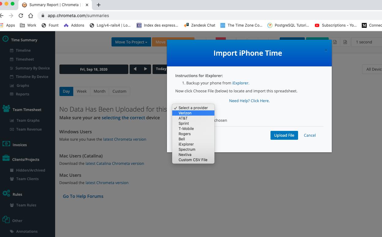 Importing Verizon call text in Chrometa